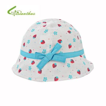 Kids Summer Hat Outdoor Bucket Style Strawberry Printing Bowknot Beach Princess Sun Hat Accessories Girls Children Panama Cap