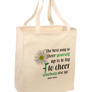 Cheer Yourself Up Mark Twain Large Grocery Tote Bag-Natural