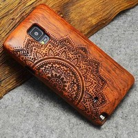 Flower Mandala: Hard Wood Designer Case For Samsung Galaxy S5 S6 S7 S8 Edge Plus Note 3 4 5 8 100% Natural Wood Case Cover For iPhone 5 5S 6 6S 7 8 Plus X