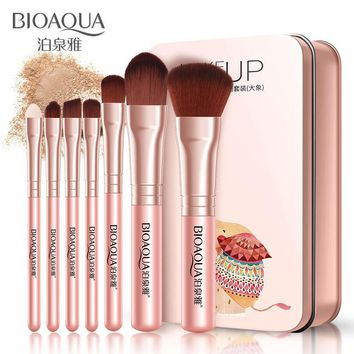 BIOAQUA 7Pcs Makeup Brushes Set Eye Lip Face Foundation Portable travel Packed Makeup Brush Kit Soft Fiber Hair Tools With Case
