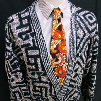 Vintage 90s Revival AWESOME Geometric Pattern Grunge Cardigan Large