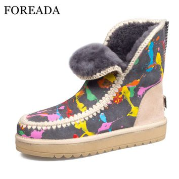 FOREADA Genuine Leather Snow Boots Women Real Fur Winter Ankle Boots Wool Suede Boots Graffiti Platform Wedge Heel Shoes 34-43