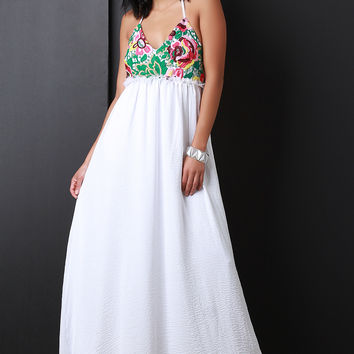 Floral Embroidered Lace Empire Waist Maxi Dress | UrbanOG