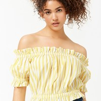 Striped Ruffle-Trim Crop Top