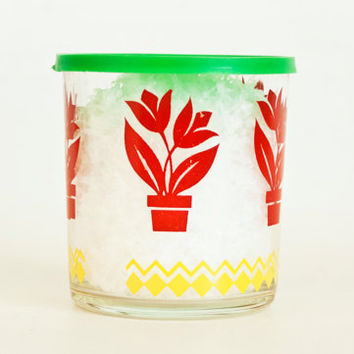 Vintage Hazel Atlas Storage Jar with LID, Sour Cream Cottage Cheese Container, Tulip Print Glass, Green Yellow Red