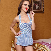 2016 Sexy lingerie hot women Blue cute halter maid uniform erotic lingerie+lace lenceria sexy underwear cosplay sex products