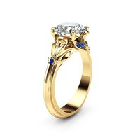Moissanite Petal Engagement Ring 14K Yellow Gold Petal Ring 2 Carat Moissanite Engagement Ring with Sapphires