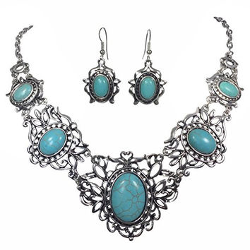 Open Filigree Swirl Silver Tone Simulated Oval Turquoise Western Necklace Earring Set