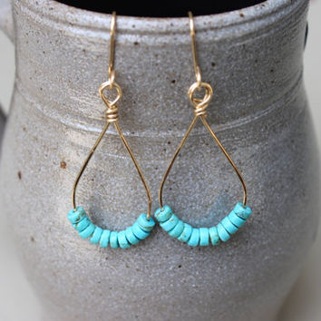 Turquoise Gold Drop Earrings, Dangle Earrings
