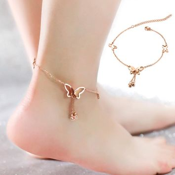LNRRABC Butterfly Pendents Foot Chain Anklets Bracelets Silver Rose Gold Color Fashion Vintage Jewelry For Women Accessories