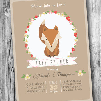 Fox Baby Shower Invitation Woodland Babyshower Invite Brown Orange Fox Invites Gender Neutral Flowers Floral (Printable Digital File DIY)