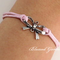 Butterfly knot bracelet, antique silver, butterfly, pink bracelet, wrist candy, girlfriend gift
