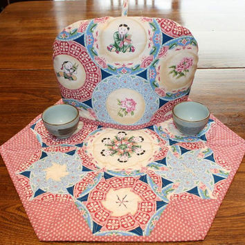 Table Topper, Centerpiece, Pieced Hexagons, Rose and Blue China Plates