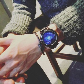 BGG Creative personality Sky and star leather normal LED Digital watch women couple watch men electronics casual watches student