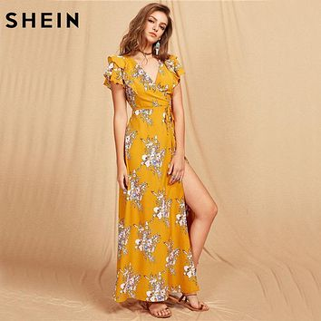 SHEIN Women Flutter Sleeve Crisscross Back Surplice Wrap Botanical Dress Summer Yellow V Neck Cap Sleeve Maxi Dress