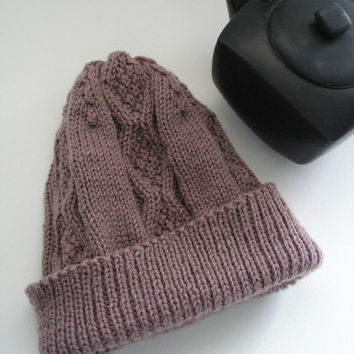 Light Brown Wool Hat Adult Size Hand Knit Cap  Gift Idea Ready to Ship