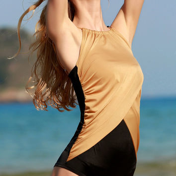 Color Block Wrapped Sleeveless One Piece Swimwear