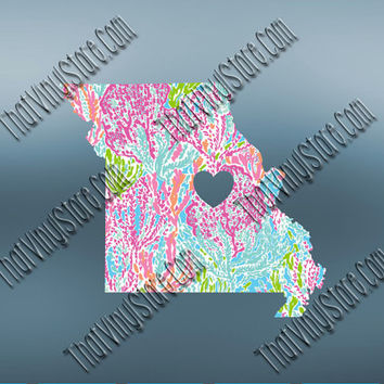 Missouri Preppy Pattern State Decal | Missouri Heart Home Decal | I Love Missouri Decal | Homestate Decals | Love Sticker | 484