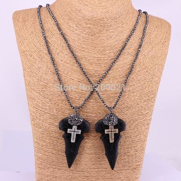 5Pcs Crystal rhinestone cz pave arrowhead wood pendant necklace hematite beads jewelry necklaces