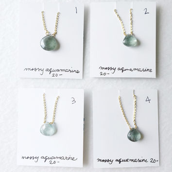 Mossy green blue aquamarine drop - trunk show