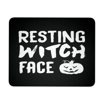 """Resting Witch Face Halloween Mouse Pad 9.25"""" x 7.75"""" 1/4 Thickness Durable Neoprene"""