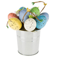 Pastel Eggs in Metal Flower Pot | Hobby Lobby