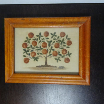 Vintage Framed Apple Tree Signed Sandy Honan Theorem Painting - Hand Painted Folk Art/Pennsylvania Dutch Art