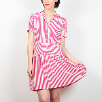 Vintage 80s Dress Pink White Candy Striped Shirt Dress 1980s Dress Draped Drop Waist Hipster Dress Preppy Kawaii Shirtdress M Medium L Large
