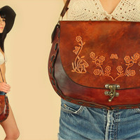 ViNtAgE 70's HUGE Rare Hand Tooled Chunky LEATHER Handbag // Floral Mushrooms Butterflies Purse // Braided Strap // Artisan HiPPiE BoHo