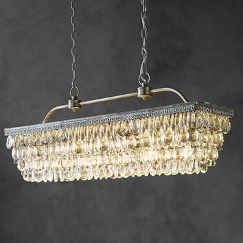 CLARISSA CRYSTAL DROP RECTANGULAR CHANDELIER