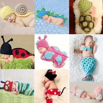 Newborn crochet baby costume photography props knitting baby hat bow baby photo props newborn baby girls cute outfits