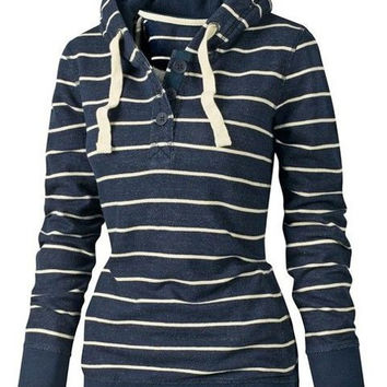 Dark Blue Hooded Long Sleeve Striped Hoodie