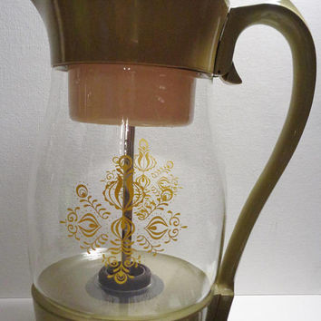Almost Like New Vintage Corning Avocado Green and Glass Coffee Maker Percolator - c. 1970's Vintage - Yellow Decoration - Very Clean - Retro
