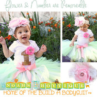 Baby Girl First Birthday Outfit - Mint Pink Gold White Lace Tutu - 1st Birthday - First Birthday Clothes - Headband - Baby Girl - Princess
