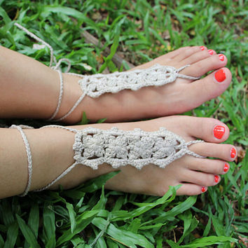 Ethnic Style Handmade knitting Hollow Out Lace Anklet Bracelet Crochet Barefoot Sandals Foot Jewelry Accessory Gift-13