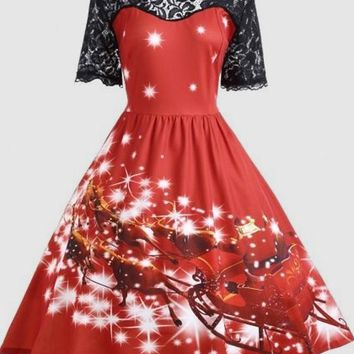 Red Floral Print Lace Draped Round Neck Short Sleeve Midi Dress