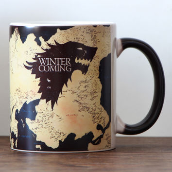 Drop shipping Game of Thrones Magic Ceramic coffee mug Stark Arryn Lannister  Color Changing Ceramic Tea Cup surprise gift