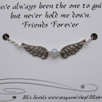 Frienship Angel Charm Anklet with Crystal and Quote Inspirational Card- Bridesmaids Gift - Friendship Anklet - Quote Gift