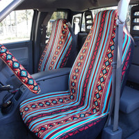 1 Set of Turquoise/Rust Aztec Strip Print Seat Covers and the Steering Wheel Cover Custom Ordered.