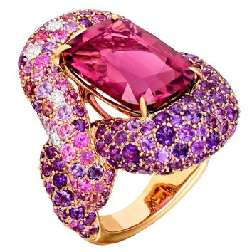 Margot McKinney 10.29 Carat Rubellite Pink Purple Gemstone Bold Statement Ring