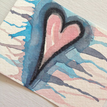 ACEO Original Dripping Heart Watercolor - With All My Heart Series 26