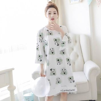 New Women Nightgowns Sleepshirts 2017 Women Sleepwear Summer Autumn Nightgown Print Loose Nightdress Casual Home Dress