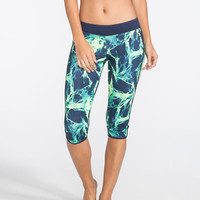Hurley Beach Active Nike Dri-Fit Womens Crop Leggings Blue Combo  In Sizes