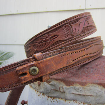 50s Tooled Texastyle Ranchman Western Belt, W38 W40 W42 / 97-108 cm // Vintage Cowboy Leather Belt