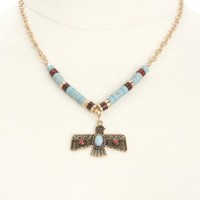 Beaded Thunderbird Pendant Necklace by Charlotte Russe - Gold