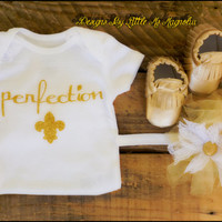 "Gold Moccasins For Baby Girl , Clothing Set ""Pure Perfection"" For Newborn, Infant and Toddler Girls"