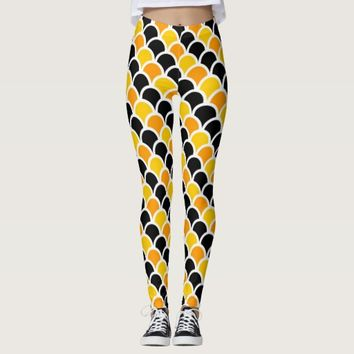 Cute black orange moroccan pattern design leggings