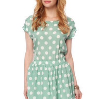 Minnie Mo Polka Dot Dress in Mint :: tobi