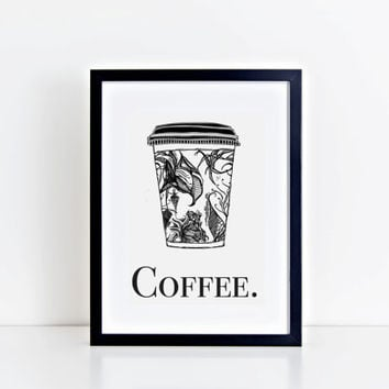 Wall Art, Kitchen Wall Art, Prints, Coffee Mug, Coffee Sign, Coffee Cup, Coffee Print, Kitchen Decor, Kitchen Print, Christmas Gift