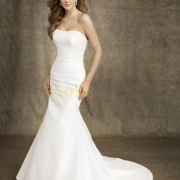 Amazing White Mermaid Trumpet Floor Length Strapless Satin Wedding Gown
